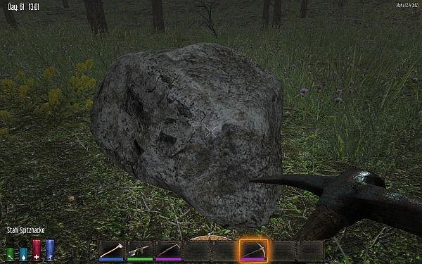 Aus diesen Brocken bekommt Ihr die ersten Eisenerzfragmente!