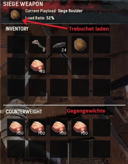 Conan Exiles - Trebuchet Munition laden