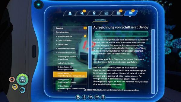 Subnautica - Bericht von Schiffsarzt Danby