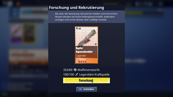 Fortnite - Waffen Forschung