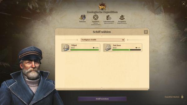 Anno 1800 - Schiff wählen