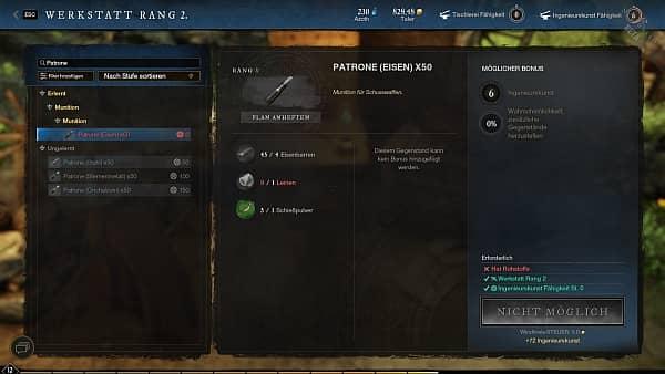 New World - Patronen herstellen